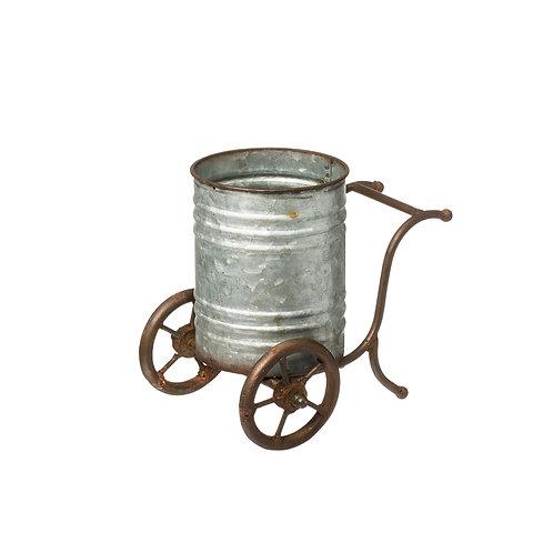 Large Iron Flower Pot w/ Wheels Zinc