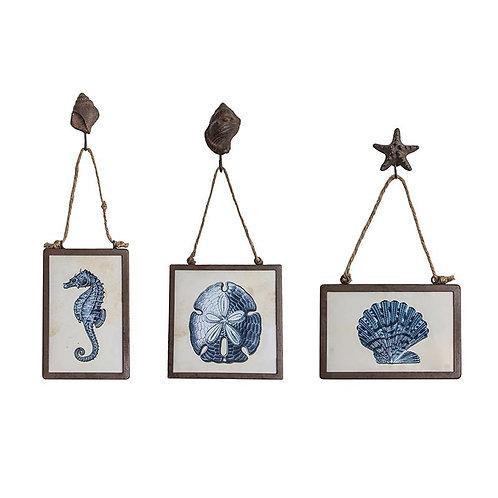 Metal Framed Wall Dcor w/ Sea Animals Image Indigo 3 Styles