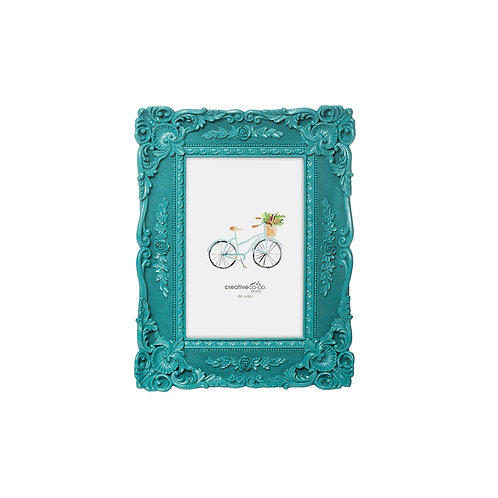 "4"" x 6"" Resin Photo Frame Peacock Blue"