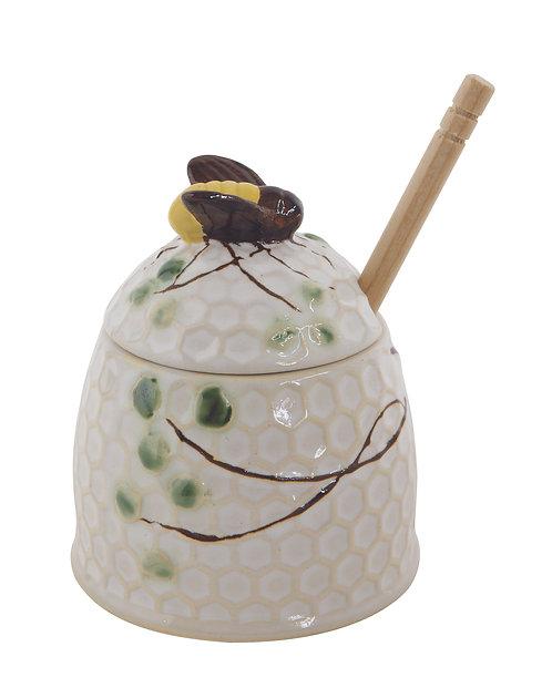 Hand-Painted Stoneware Honey Jar w/ Wood Honey Dipper