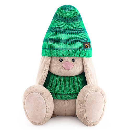 BUDI BASA  うさぎのMI 緑のシマシマニット帽