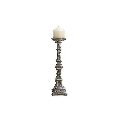 Antique Blue Magnesia Pillar Candle Holder