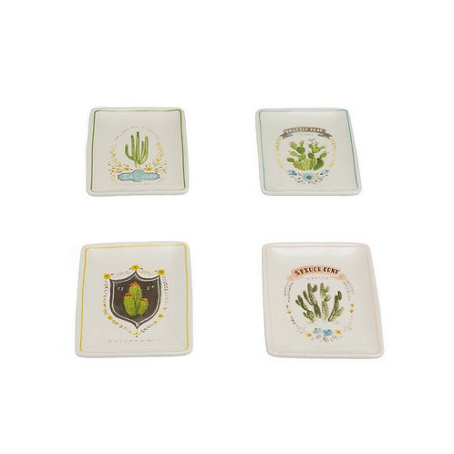 Angela Rectangle Stoneware Dish w/ Cactus Decal 4 Styles