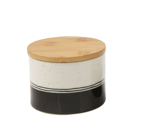 Small Hand-Painted Stoneware Canister w/ Banboo Lid