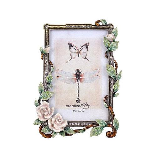 "4"" x 6"" Enamel Rose Garden Photo Frame"