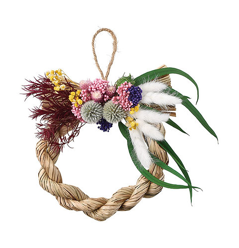 """【SOMU】nawa-wreath  """"ルリタマ"""" プリザーブド・ドライフラワー  しめ縄"""