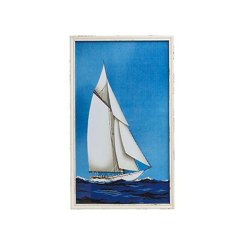 Wood Framed Wall Art w/ Sail Boat