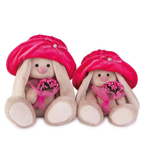 BUDI BASA うさぎのMI ベルベットの帽子&ピンクのブーケ
