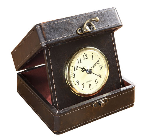 Faux Leather Travel Clock In Box