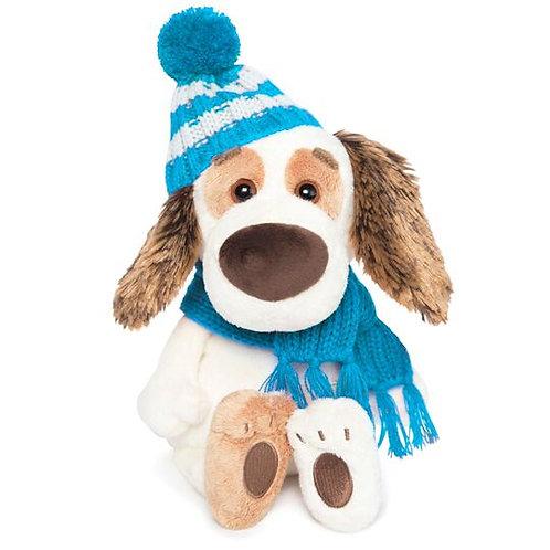 BUDI BASA   Bartholomew baby ブルーのニット帽&マフラー  ビーグル