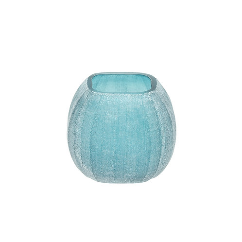 Mandarin Small Square Glass Vase Blue