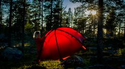 Teltoppsetting i solnedgang
