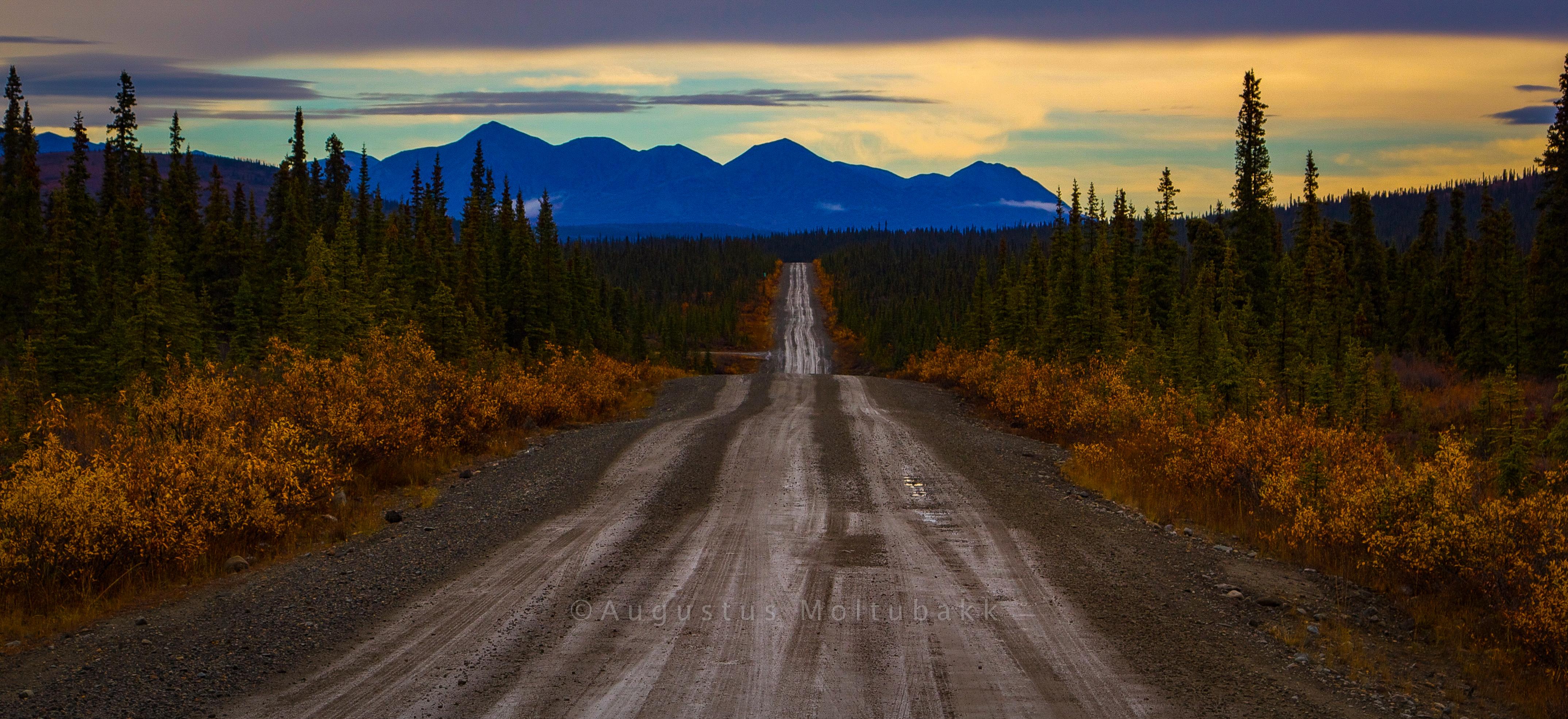 Solnedgang på Denali Highway