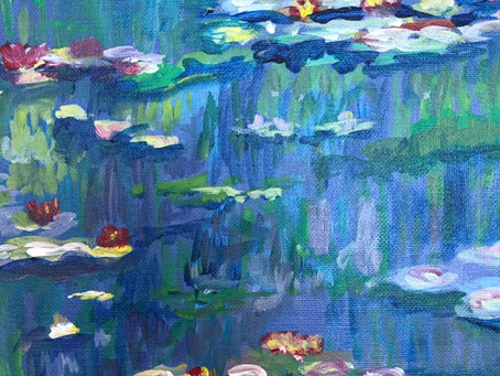 """Making """"our"""" versions of Monet's Water Lillies. Trying things we haven't done before."""