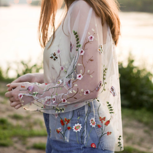 White Multi-Colored Floral Bomber Jacket