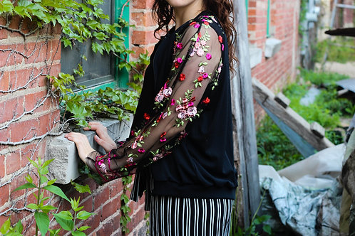 Black Floral Lace Bomber Jacket