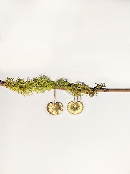 Gold Lotus Leaf Earrings