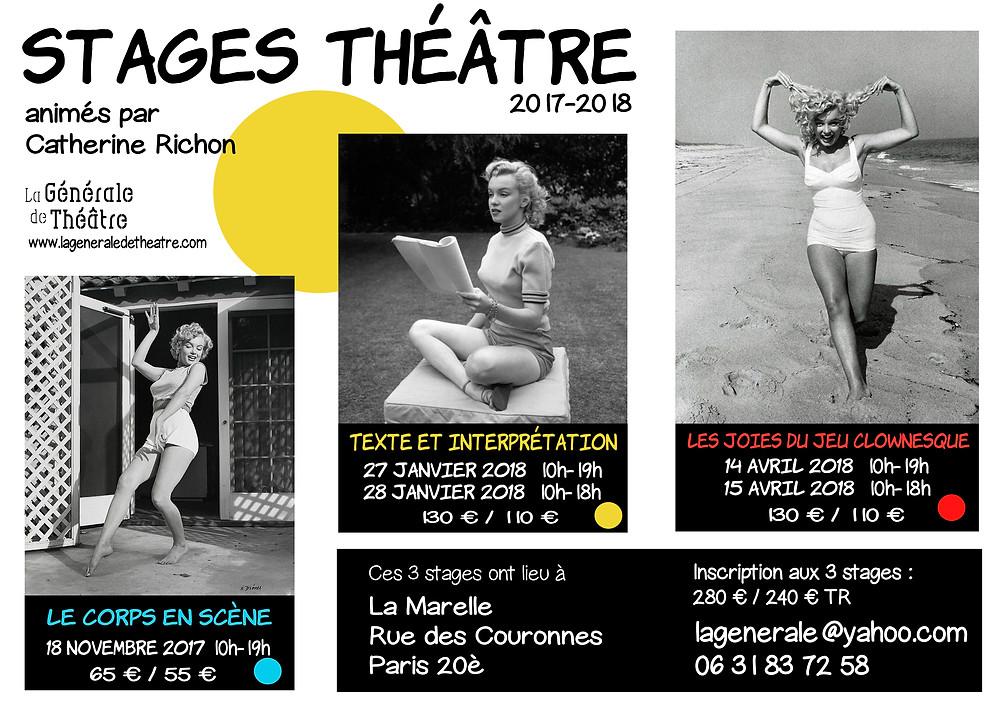 Stages Théâtre Paris 2017-2018