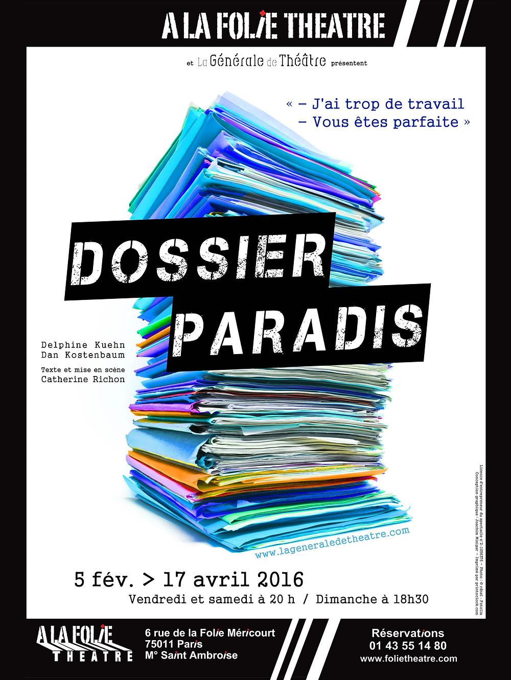 Dossier Paradis de Catherine Richon à La Folie Théâtre