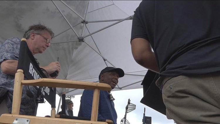 11Alive snapshot of Kim Bass on set of Tyson's Run