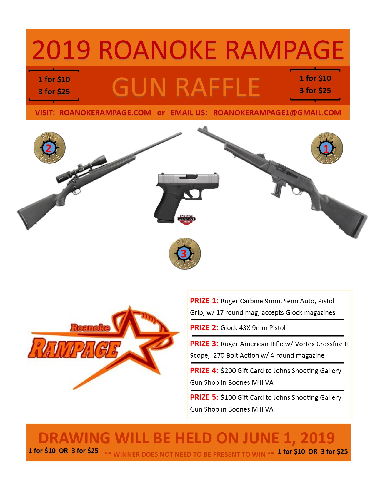 2019 Roanoke Rampage Gun Raffle