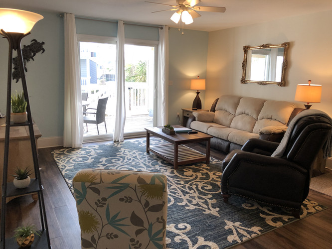 Family room opens onto nice deck