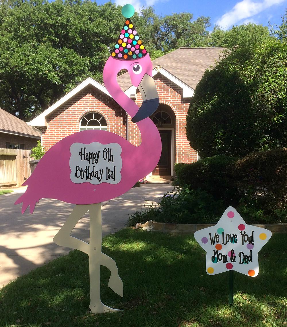 flamingo sign, celebration, birthday, anniversary, graduation