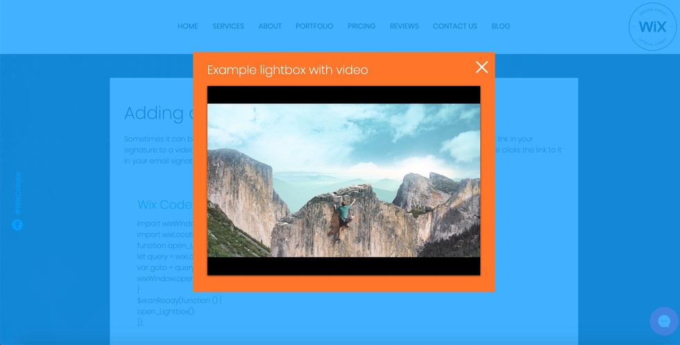Adding a URL to a Lightbox using Wix Cod