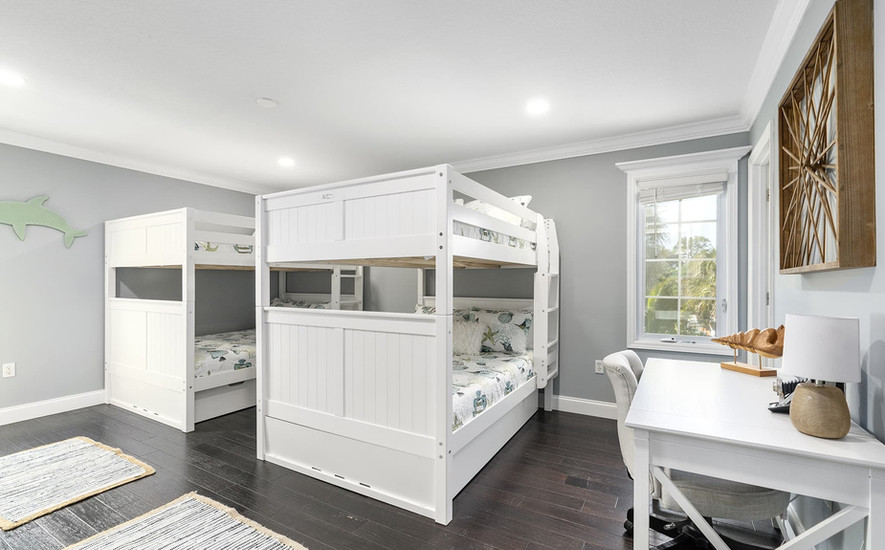 2 sets of bunk beds with pullout trundles