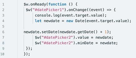 Wix Code Pass Dates between Two Datepick