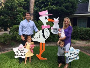 stork sign, yard, family