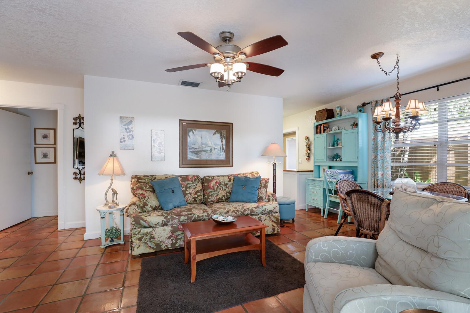 Frangipani Villa living room and desk