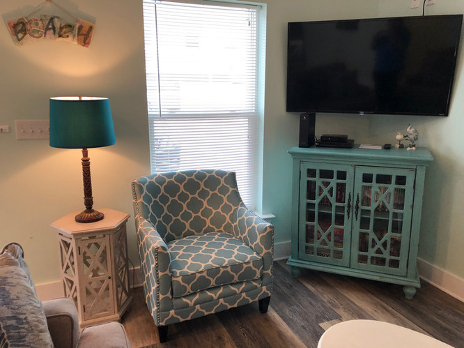 Living room chair and TV