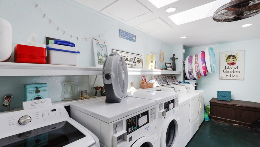 Common laundry area and beach toys