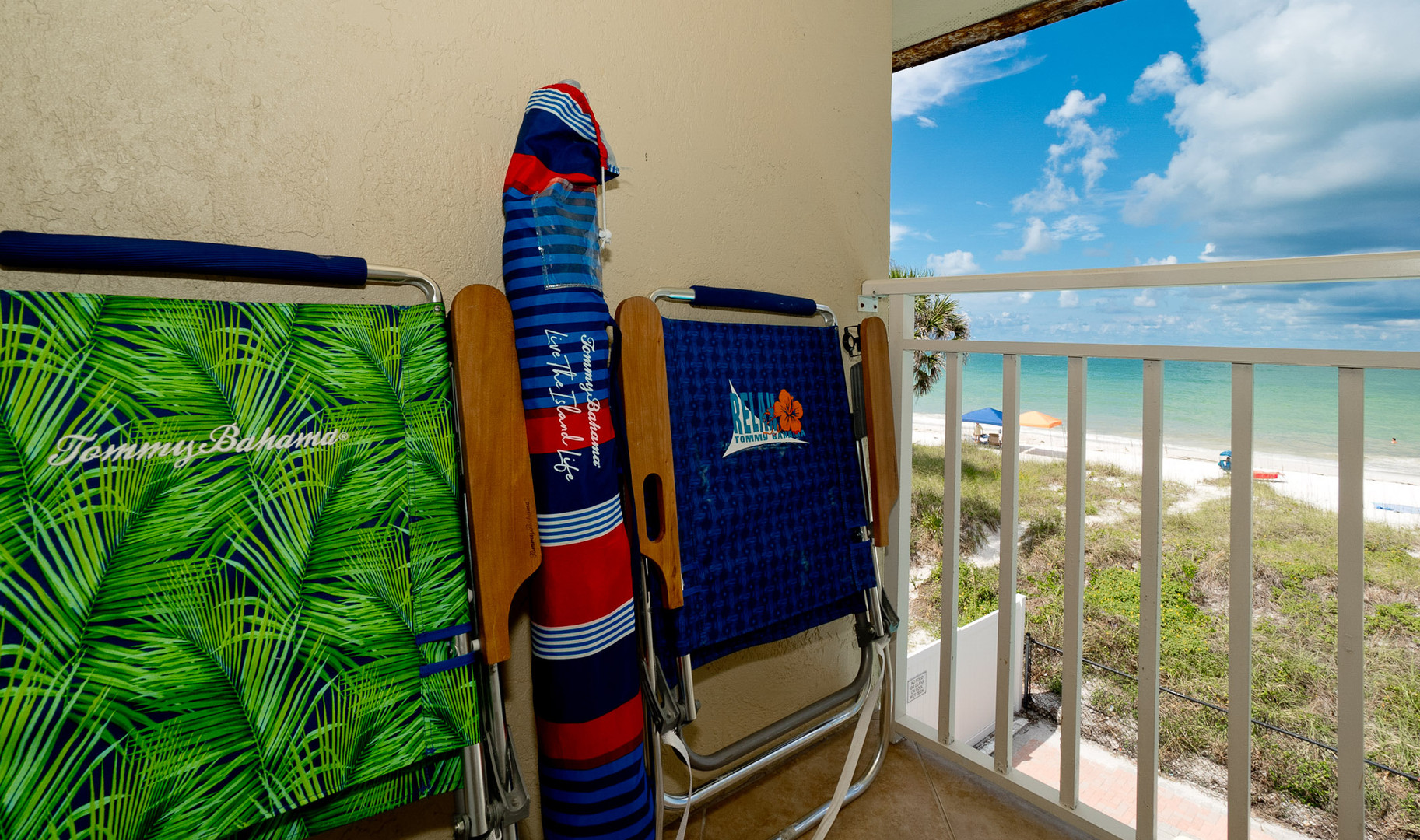 Tommy Bahama Beach Chairs and Umbrella