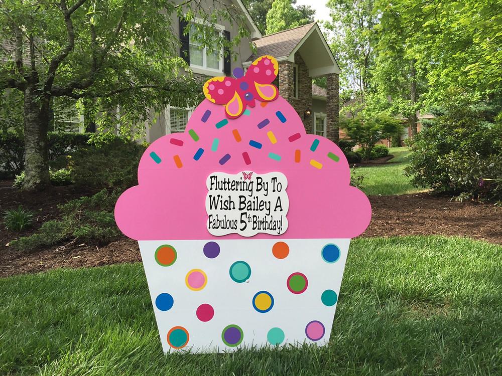 cupcake lawn sign, celebration, birthday