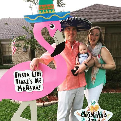Fiesta Flamingo, Blue Sombrero & Message Star