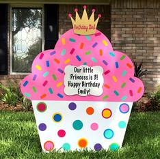 "Bubblegum Pink Cupcake, ""Birthday Girl"" Crown topper"
