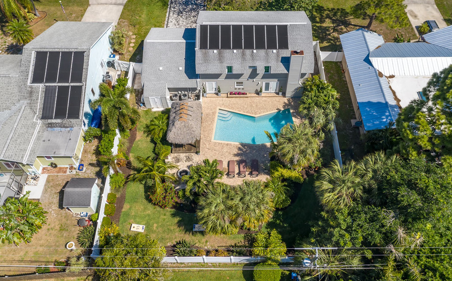 Aerial view of the amazing backyard