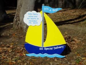boat sign, yard, baby