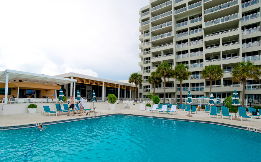 Resort pool and lounge chairs