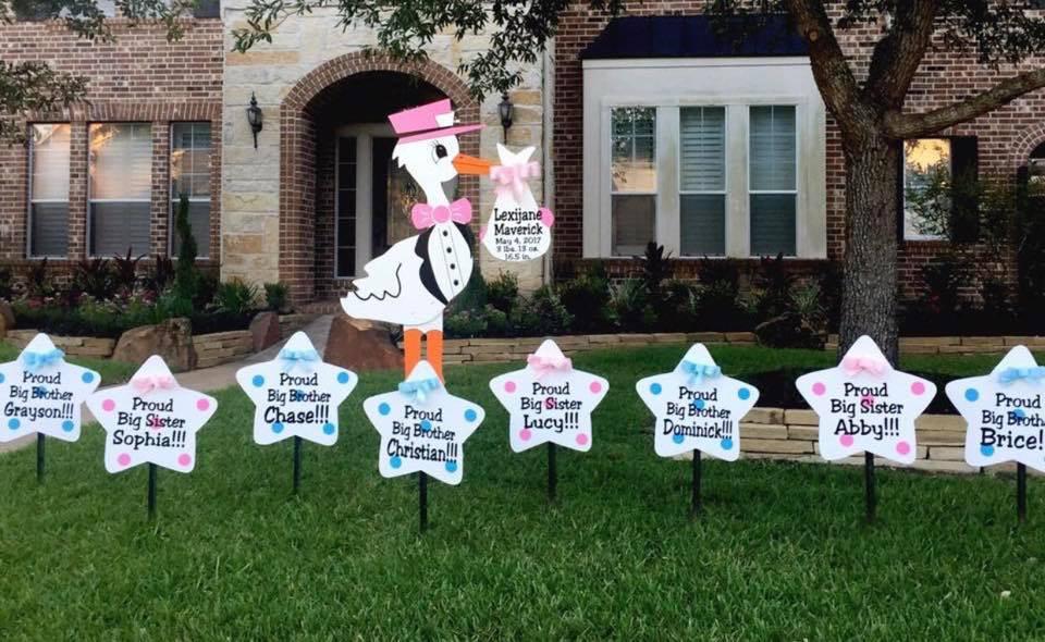 stork sign, yard, birth