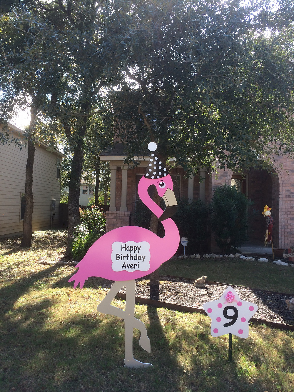 flamingo sign, birthday, celebration