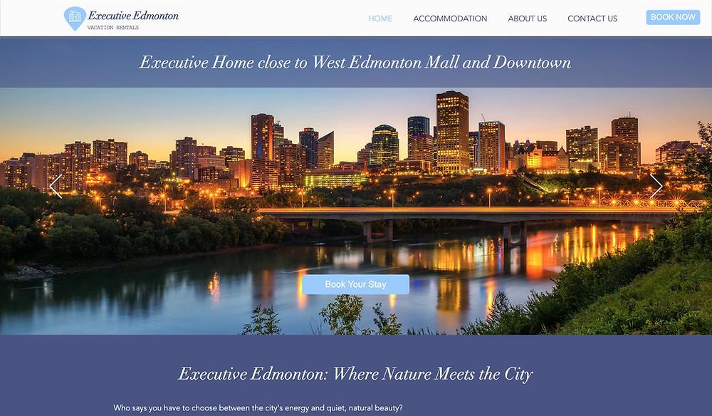 Wix website design for vacation rental Executive Edmonton