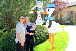 Vicki Gunvalson Celebrates Birth of Grandson Troy with a Stork Lady Sign Rental