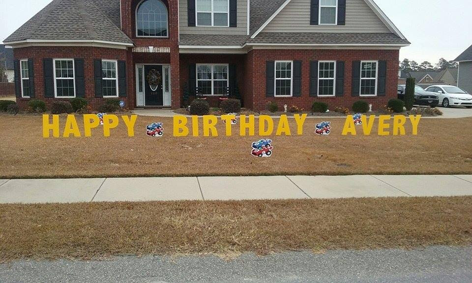 birthday sign, house