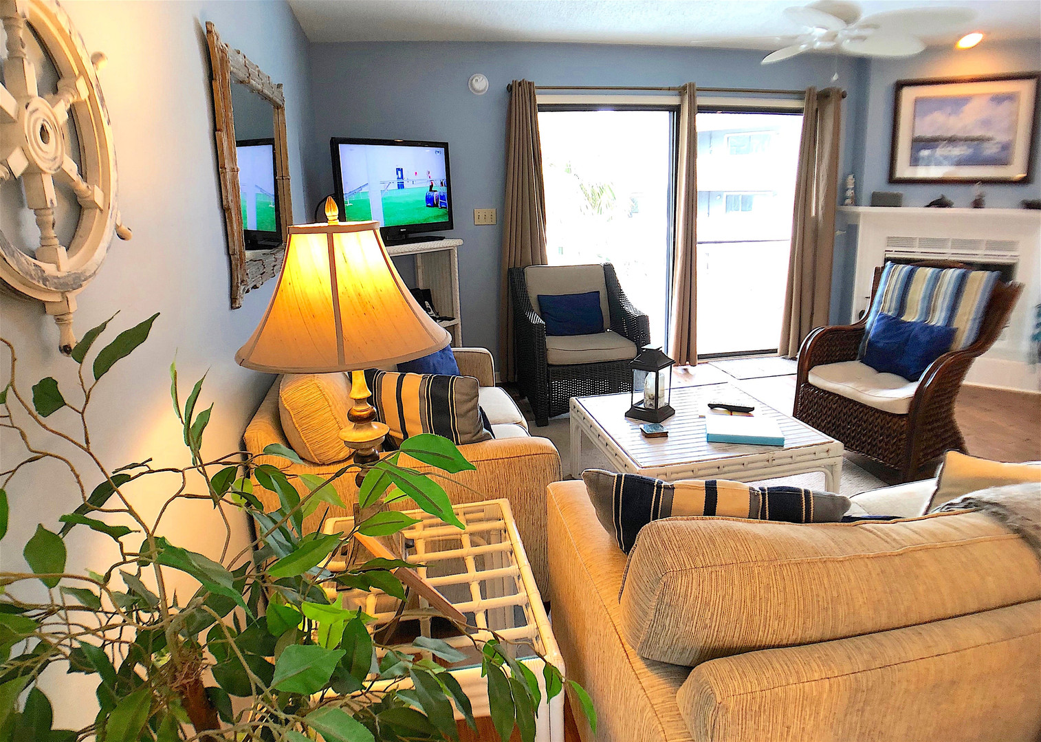 Family room opens to fantastic deck