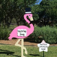 Birthday Flamingo, Top Hat & Message Star