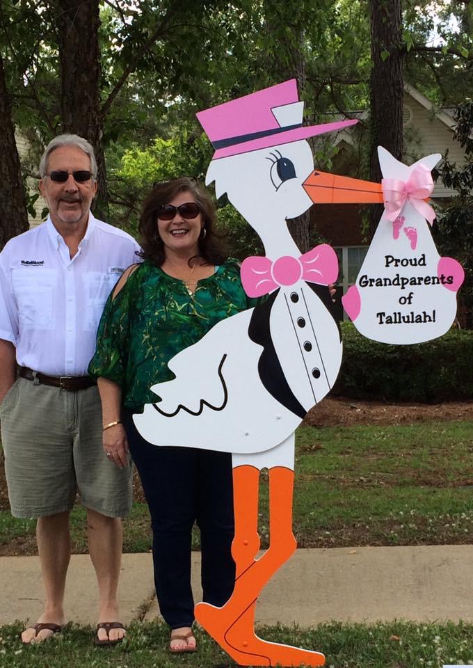 stork sign, birth, grandparents