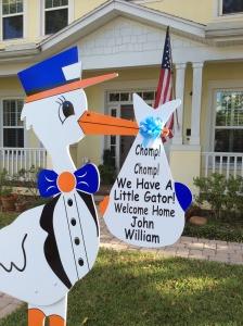stork sign, yard